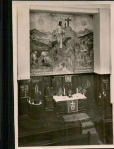 Altar mit Wandbild in der ev. Kirche Lauta (Foto: Kirchenarchiv Lauta-Dorf)